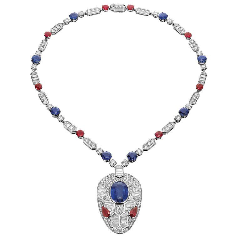 bulgari-white-gold-sapphire-and-ruby-snake-head-pendant