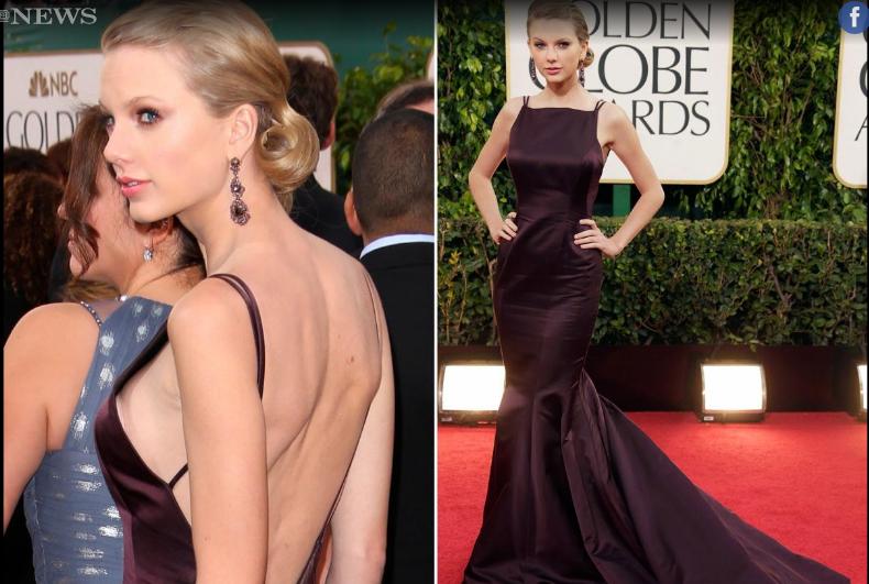 لسوء حظ تايلور فإن حمالة صدرها ظهرت من الفستان