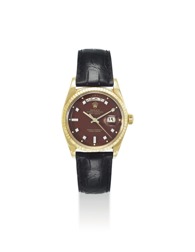 c2a359d29225f Lot 163 ROLEX. A VERY RARE 18K GOLD AND DIAMOND-SET AUTOMATIC WRISTWATCH  WITH