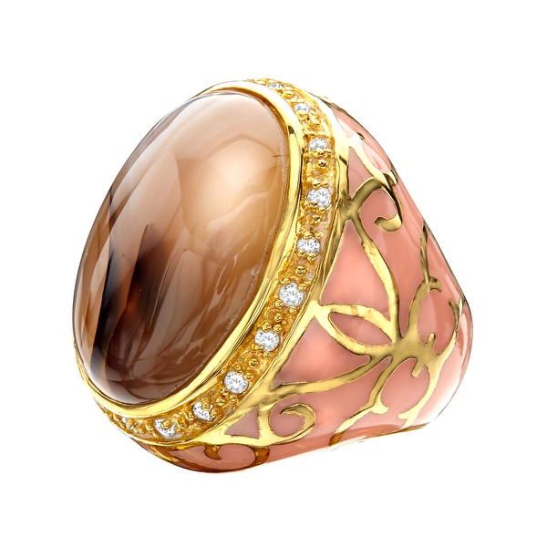 Agate-Noble-Ring-in-Peach-with-Cubic-Zirconia-in-14K-Gold-Plated-Sterling-Silver
