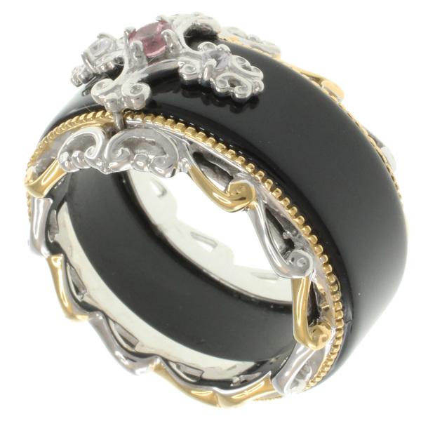 Michael-Valitutti-Two-tone-Silver-Agate-and-Gemstone-Ring-d2c71976-309d-48ca-859e-4f77b455abe7_600