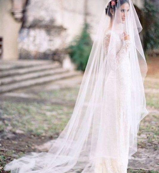 طرحة زفاف طويلة