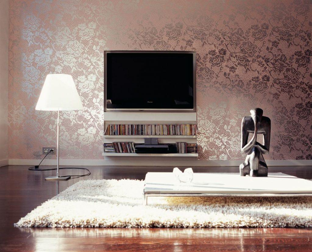 افكار ديكورات غرف جلوس من ورق الجدران بالوان الميتاليك | الراقية