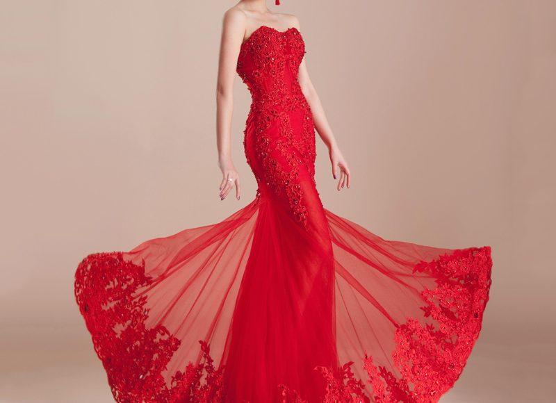 فستان أحمر ناري بقصة السمكة
