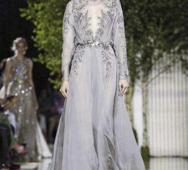 فستان خطوبة رمادي