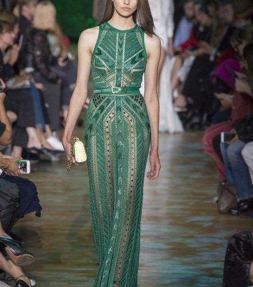 فستان خطوبة اخضر طويل