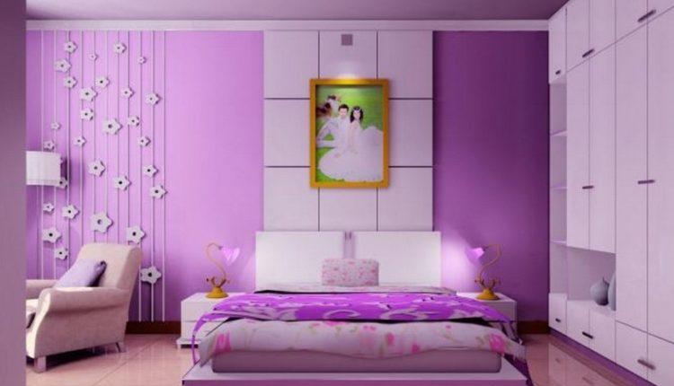 تصميمات حديثة لغرف النوم باللون الموف