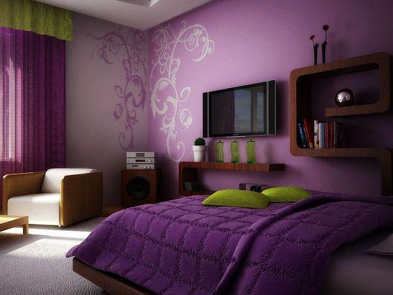 باللون الموف غرفة نوم مودرن