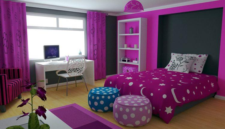تصميمات غرف نوم باللون الموف