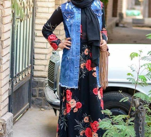 تصميم فستان محجبات فلوري اسود