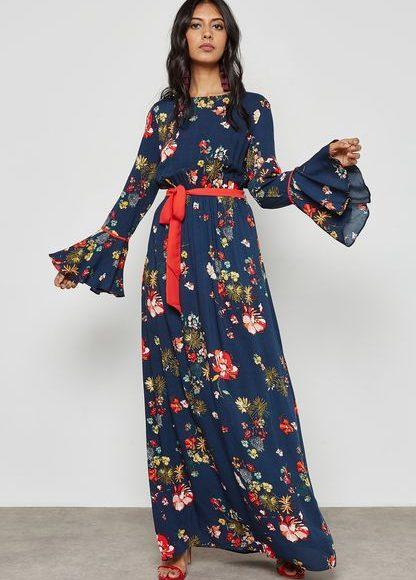تصميم فلوري لفستان طويل