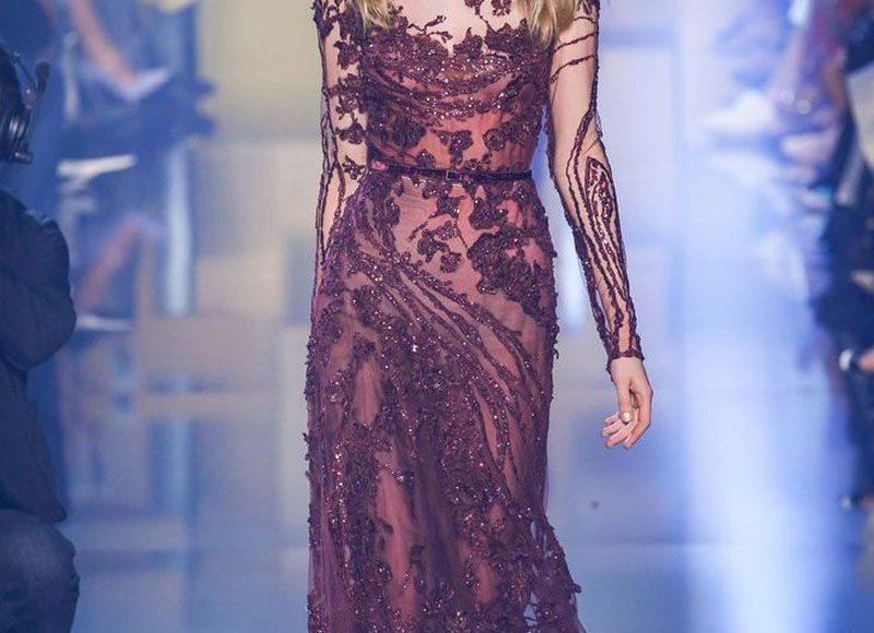 تصميم مطرز لفستان من الشيفون