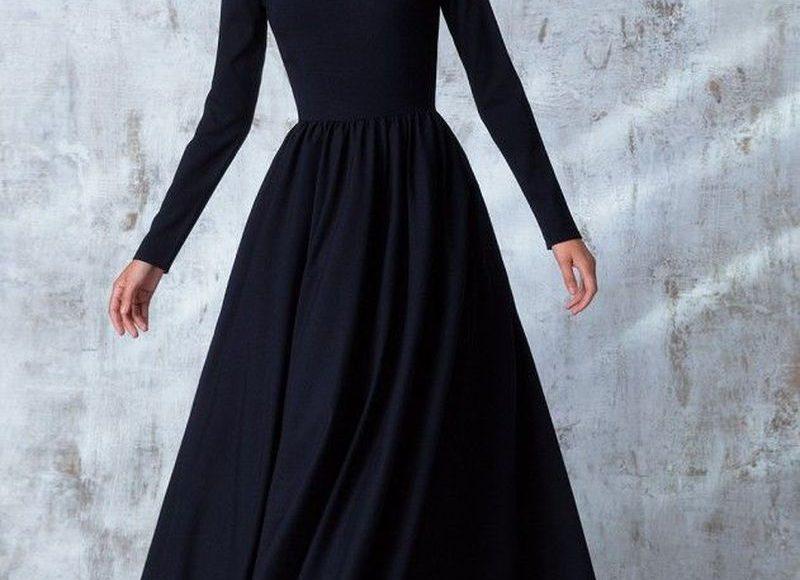 فستان ماكسي اسود طويل