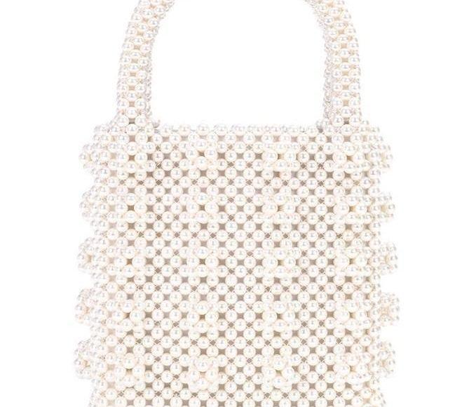 حقيبة لؤلؤ أبيض