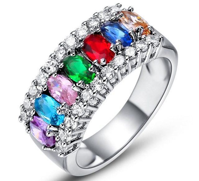 خاتم بالكريستال الملون