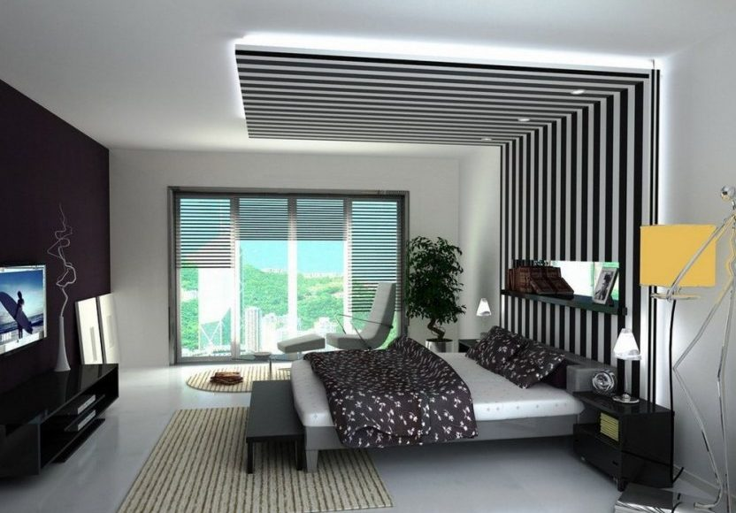 غرف نوم مع ديكورت جبسية ملونة