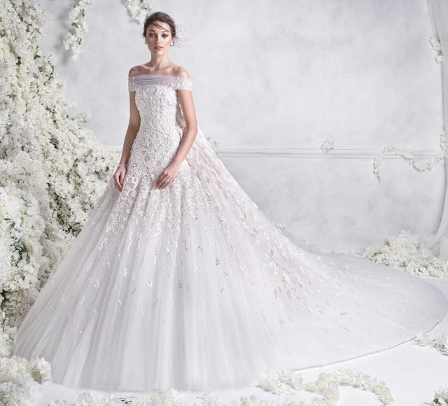 فستان زفاف بالتطريزات الناعمة