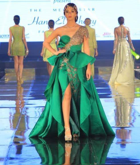 فستان سهرة أخضر