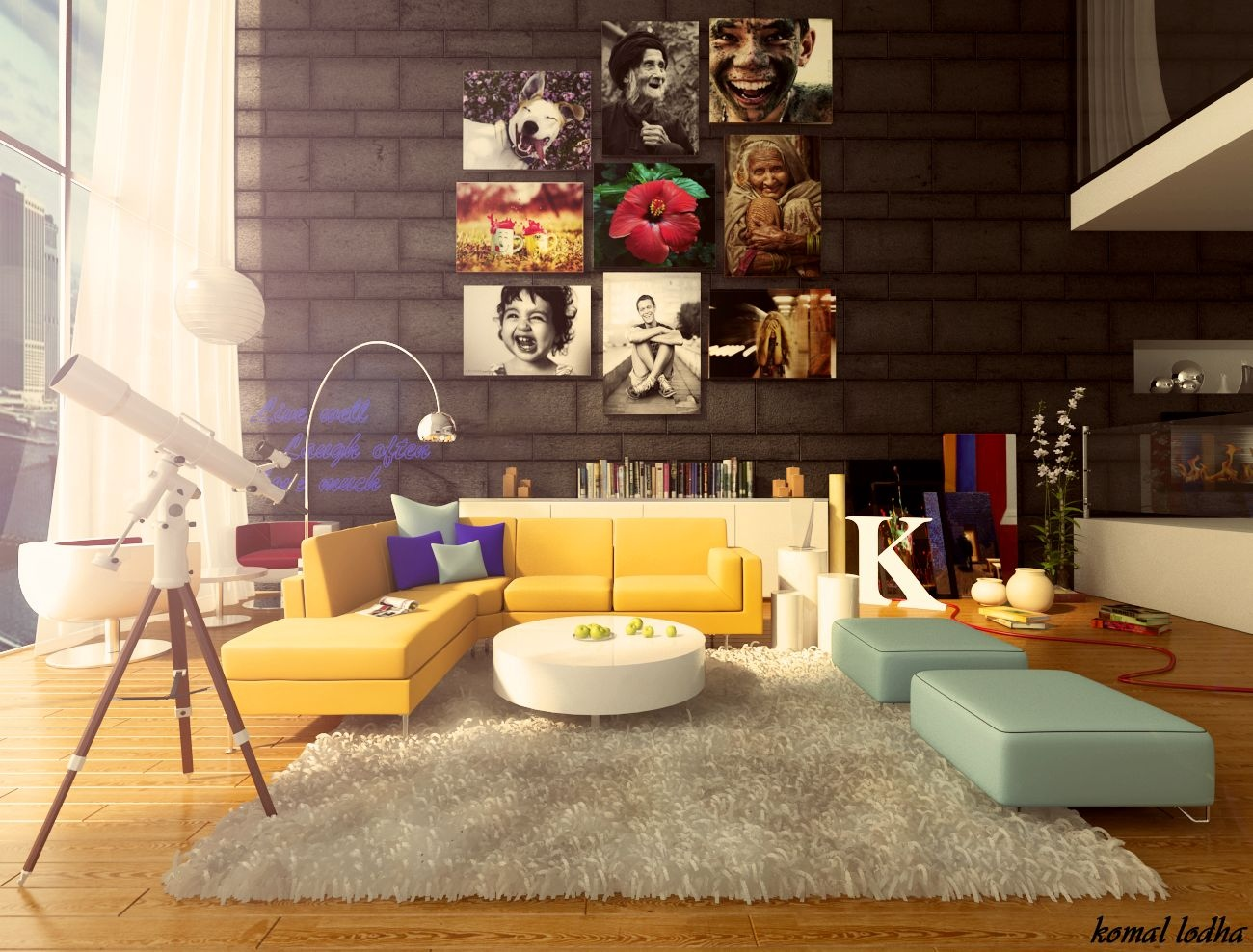 Colorful-living-room-design & Colorful-living-room-design - الراقية