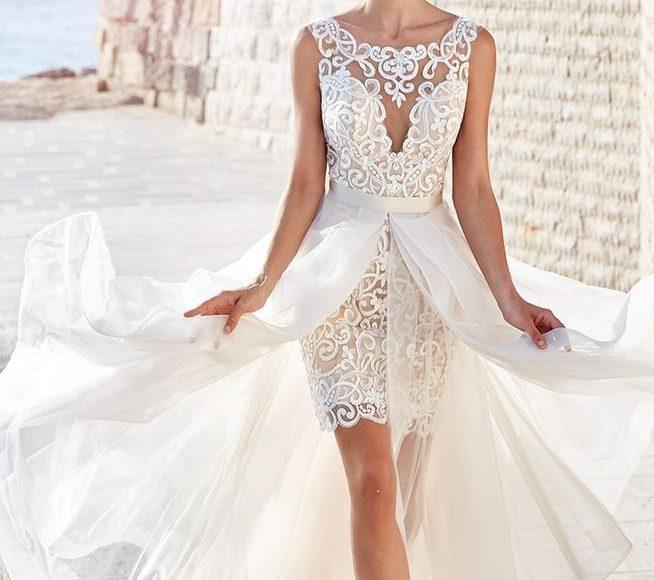 موديل فستان زفاف قصير مع ذيل