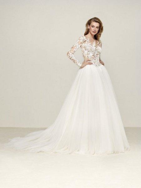 632ac5ec0 صور فساتين زفاف باكمام شفافة   الراقية