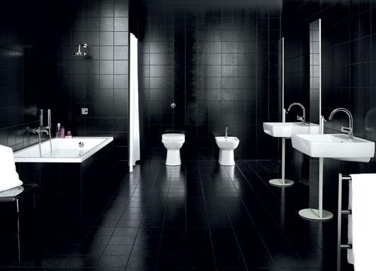 ديكورات حمامات باللون الاسود الراقية
