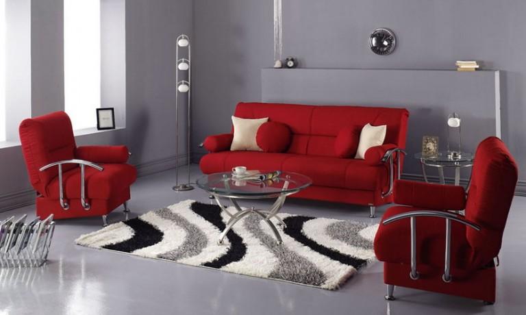 ديكورات غرف معيشة باللون الاحمر الراقية