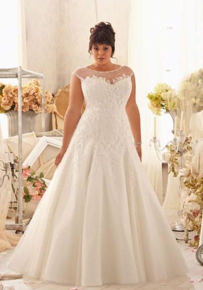 موديل فستان زفاف للسمينات
