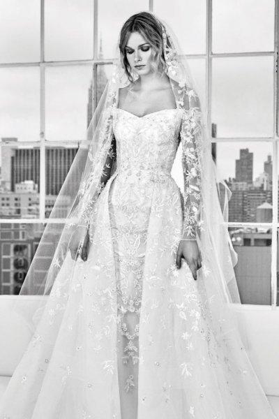 فستان-عروس-اكمام-منسدلة