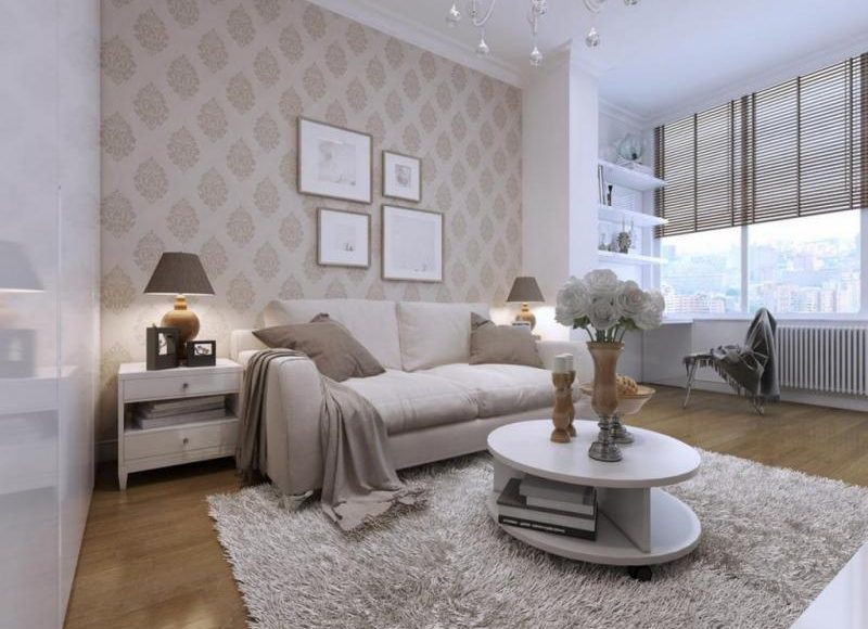 ورق الجدران منقوش في غرفة المعيشة
