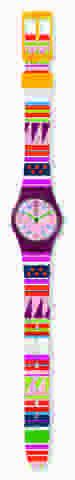 ساعة باللون الزهري