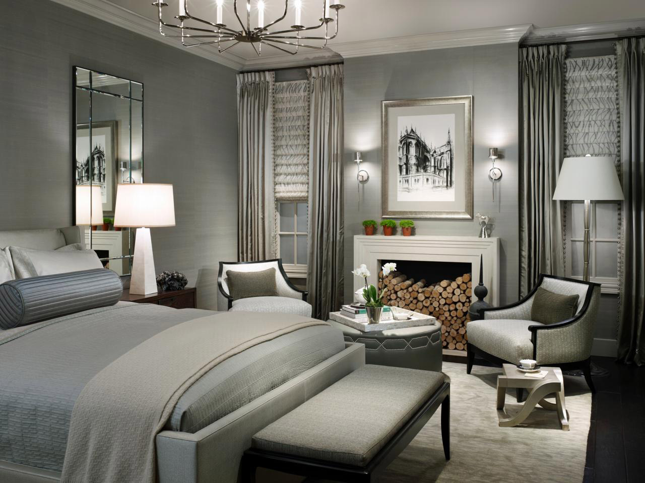 صور ديكورات غرف نوم باللون الرمادي