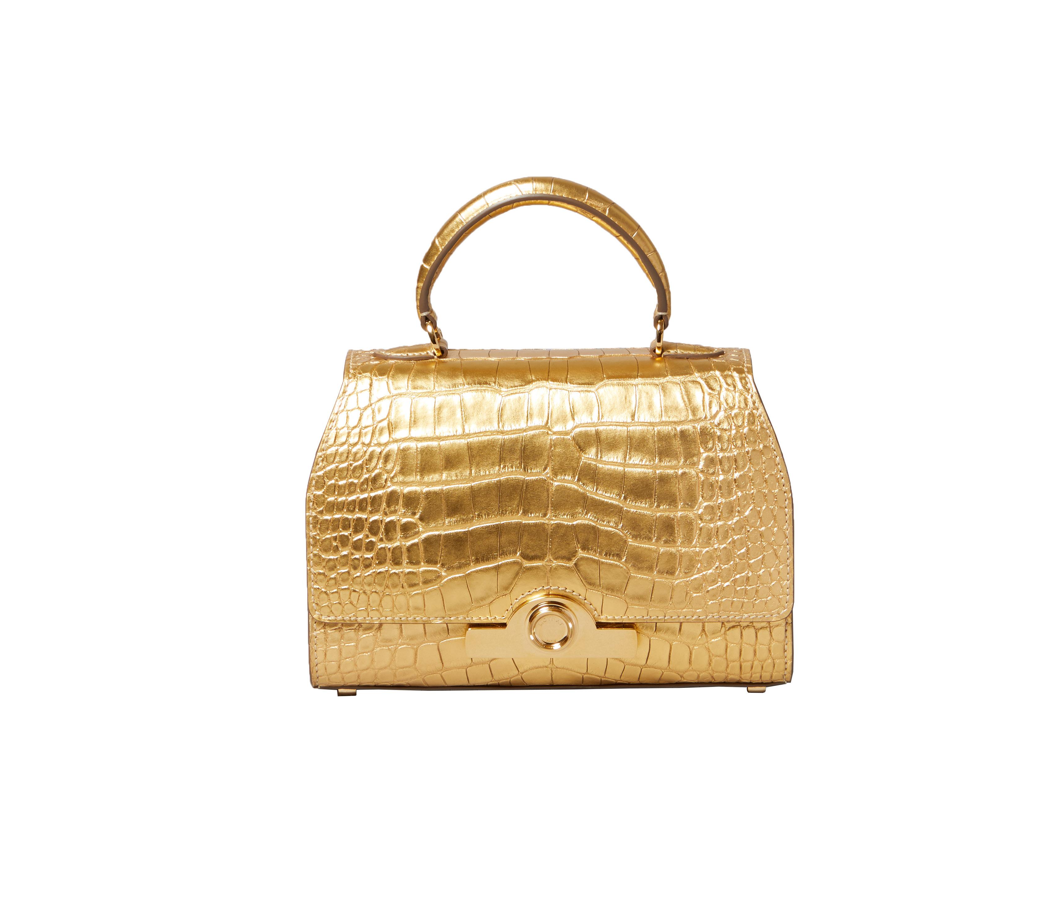 حقيبة Mini Réjane المصنوعة من جلد التمساح المطلي بالذهب