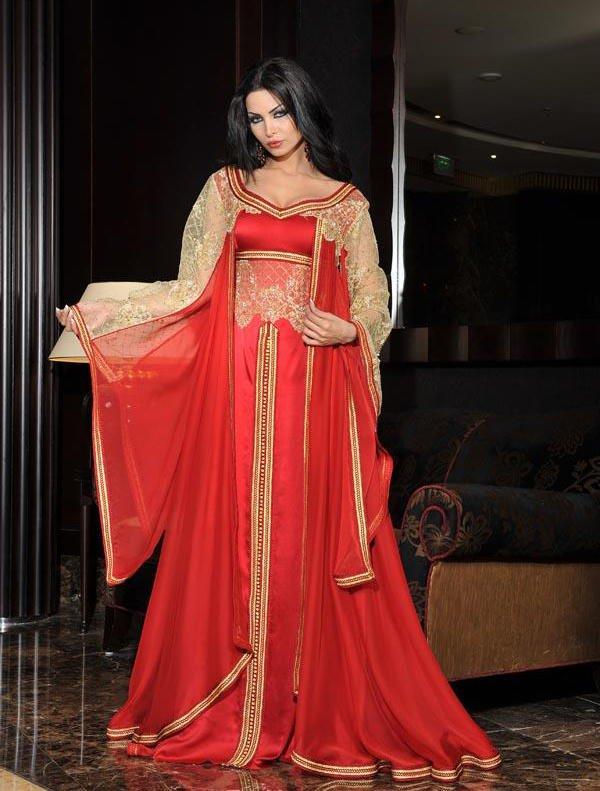 أجمل قفاطين العرائس الحمراء المتداخل معها الخيوط الذهبية