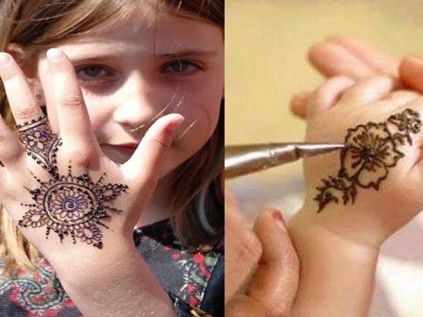 صور نقش حناء خفيف للاطفال فى الاعراس الراقية