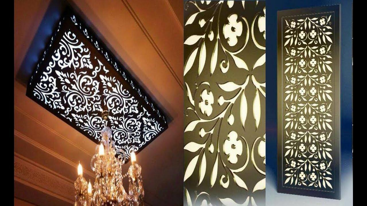 ديكورات اسقف خشبية معلقة مضيئة بالصور
