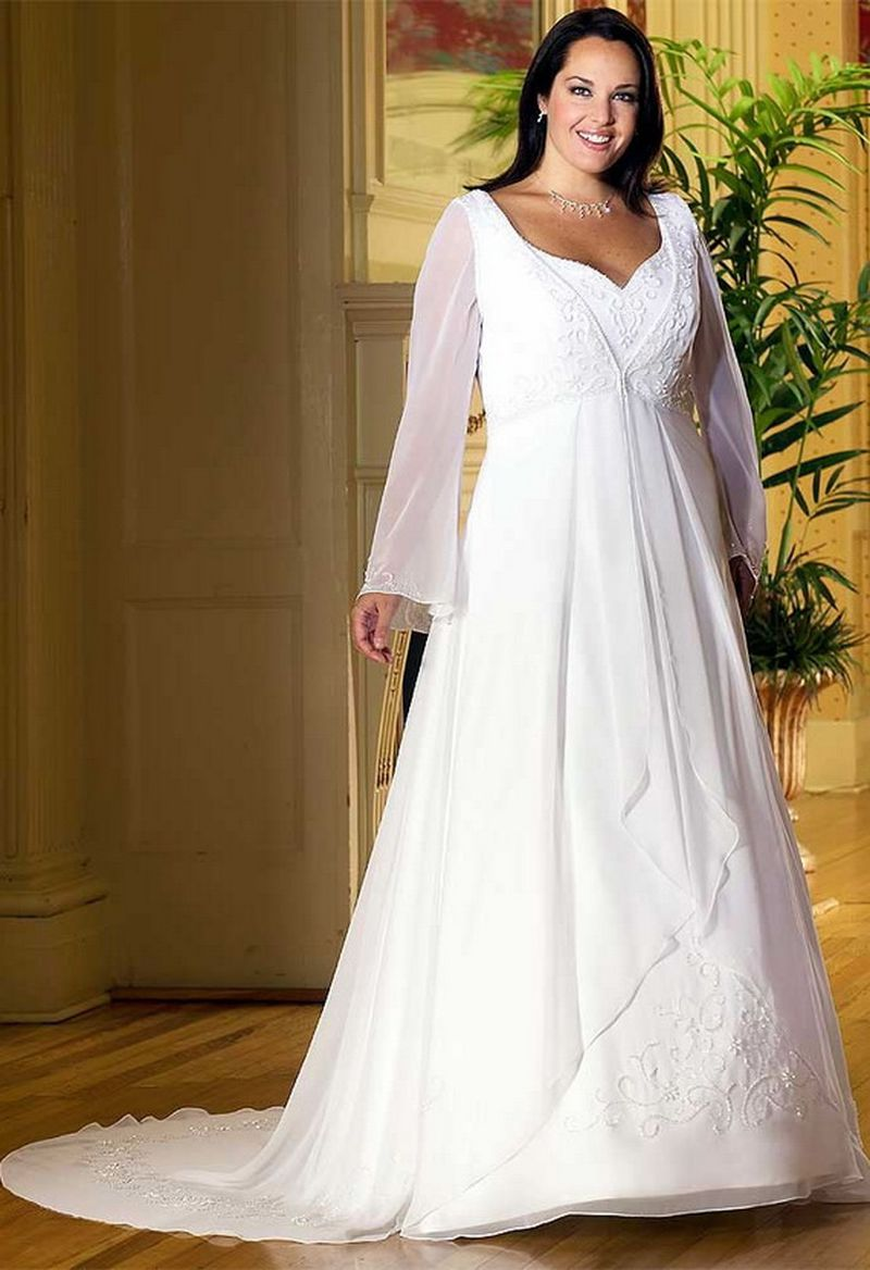 فستان زفاف طويل بأكمام للفتيات الممتلئة