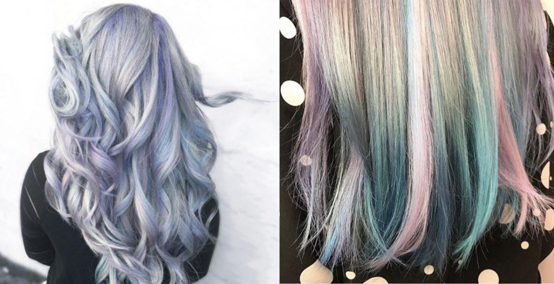لون شعر رمادي داكن مع خصلات شعر ملونة لصاحبات البشرة السمراء