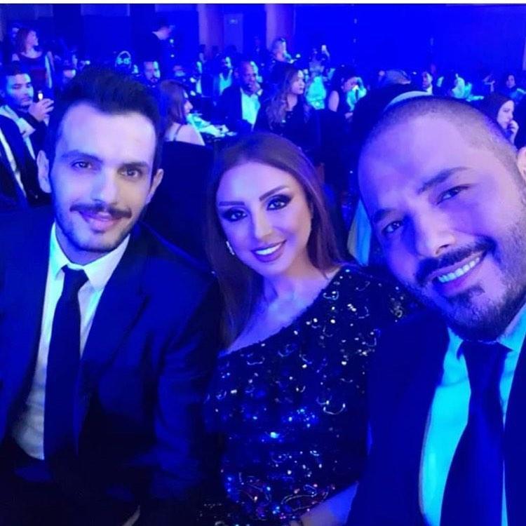 أنغام وزوجها الموزع الموسيقي أحمد إبراهيم مع النجم اللبناني رامي عياش