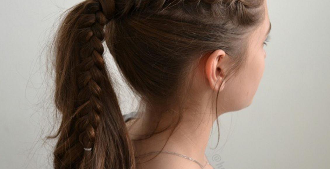 نموذج لتسريحة شعر بسيطة ملائمة للمدرسة