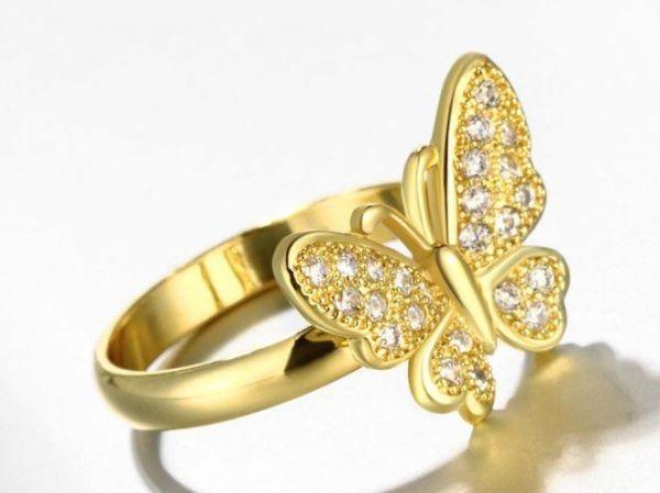 أجمل خواتم الذهب على شكل فراشة