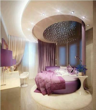 أجمل ديكورات غرف النوم الدائرية المزينة بالأسقف الجبسية
