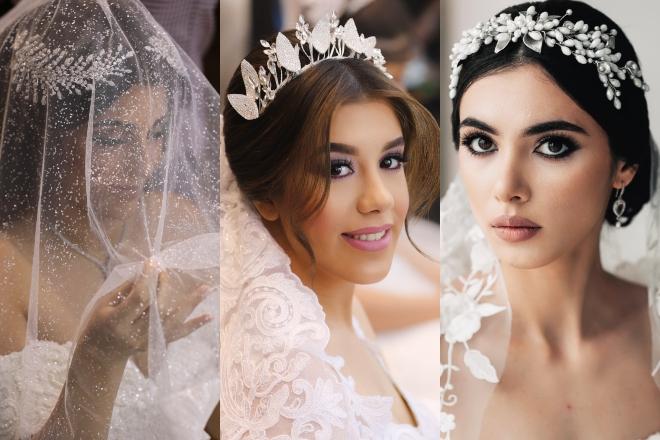 التاج يُزين تسريحات شعر العرائس الخليجيات