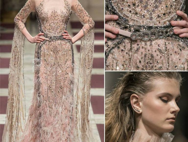 فستان سهرة بكم شيفون من تصميم زياد نكد يلائم الخطوبة
