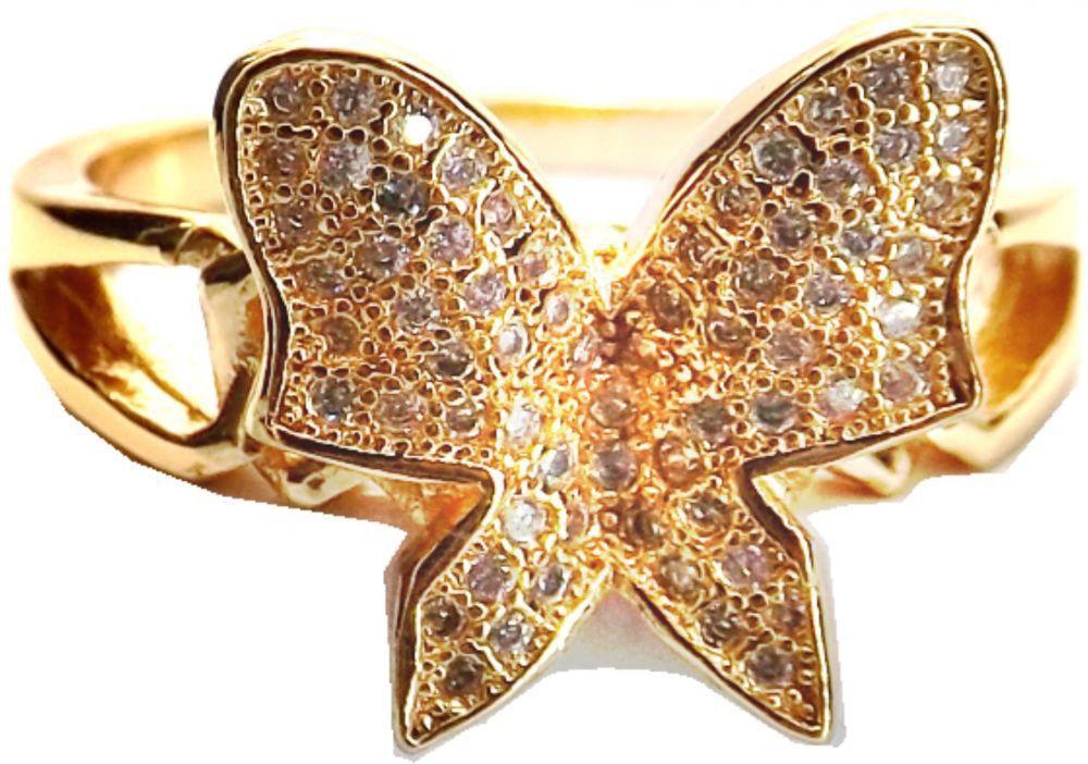 تصميم فخم لخاتم ذهبي على شكل فراشة