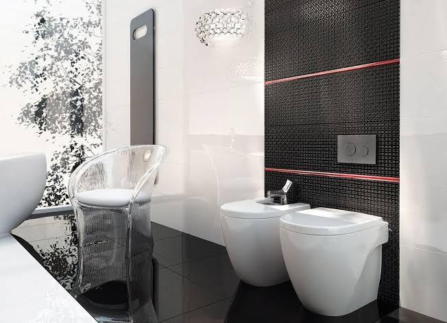 ديكور حمام بالسيراميك باللون الاسود