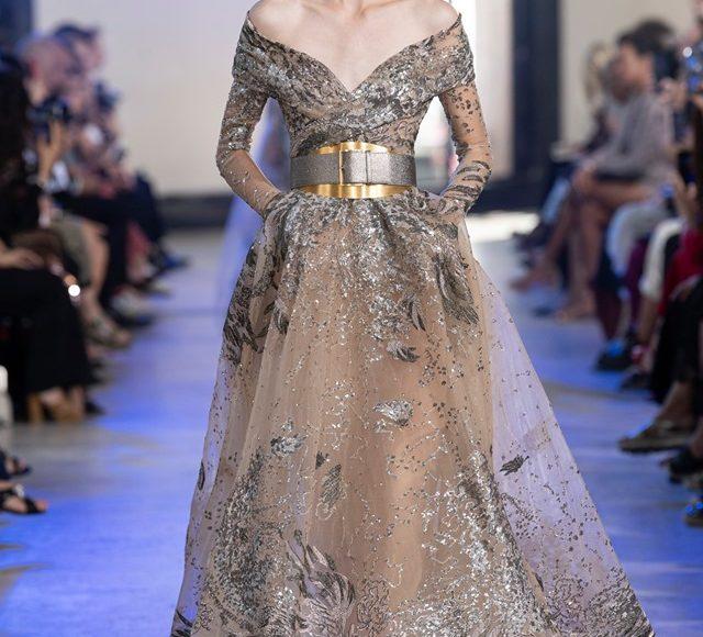 تصميم فستان سهرة بكم شيفون من تصميم إيلي صعب يلائم الخطوبة