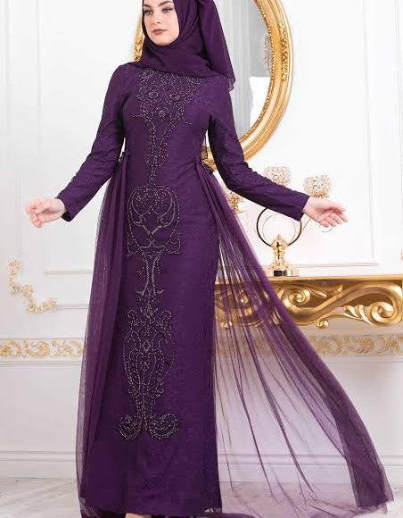 تصميم فستان خطوبة للمحجبات باللون الموف