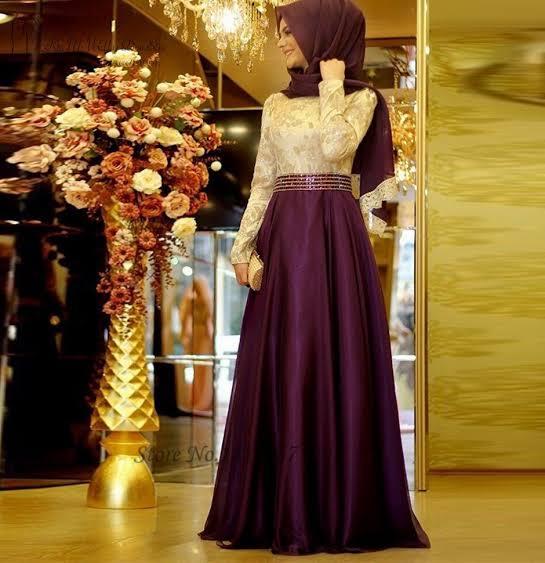 فستان خطوبة للمحجبات باللون الموف