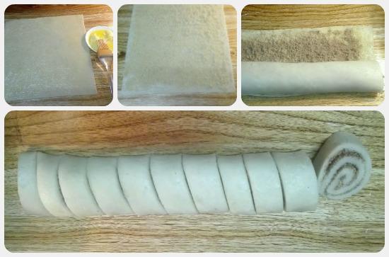 كيفية وضع القرفة في منتصف العجينة وتقطيعها